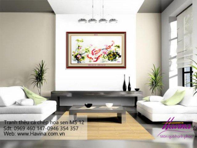 tranh thêu cá chép hoa sen treo phòng khách